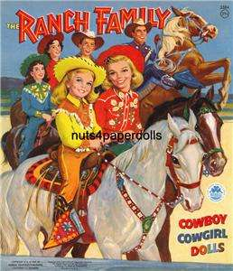 VINTAGE RANCH FAMILY PAPER DOLL LASER REPRO FREES&H W~2