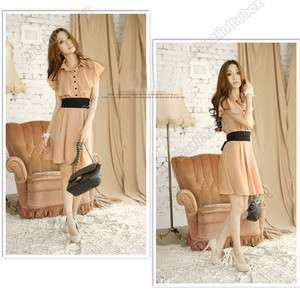 New Fashion Womens Chic Lotus Leaf Collar Chiffon Sleeveless Dress
