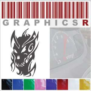 Decal Graphic   Tribal Design Tattoo Skull A885   White Automotive