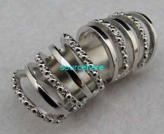 Cage Ring Punk Armour Knuckle Silver Tone Rings Band with Hinge