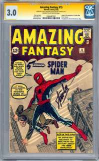 AMAZING FANTASY #15 CGC SS 3.0 SIGNED BY STAN LEE 1ST SPIDER MAN