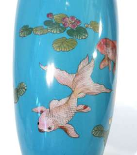 Antique Japanese Meiji Period Cloisonne Vase   Fighting Fish.