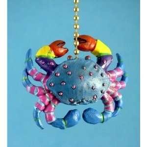 Whimsical Blue Crab Tiki Bar Dining Fan Light Pull Chain