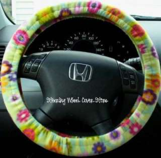 Car Steering Wheel Cover Soft Green Pink Flower Print