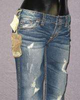 NWT Womens SILVER Jeans DESTROYED LOW RISE FLARE BOOTCUT DARK BLUE