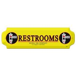 Signal Oil Co Metal Restroom Door Push Sign: Home & Kitchen