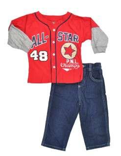 Rebels Toddler Boys L/S Top & Jeans Pant Set Size 2T 3T 4T .