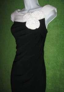 JESSICA HOWARD Black Off White Ivory Pleat Neck Rosette Cocktail Dress