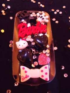 DIY Bling Barbie Red Black Heart Hello Kitty Bow Kawaii Kitsch Phone