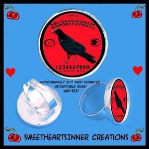 Red Blackbird Crow Ouija Board Psychobilly Horror Ring