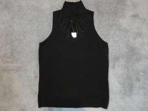 Sleeveless Turtleneck Cut Out Design Ribbed Silk Black Shirt sz Small