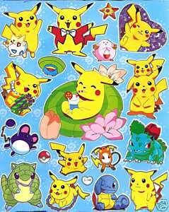Pokemon Sticker ~C199 Pikachu Jigglypuff Squirtle