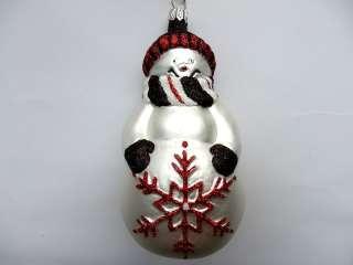LG SNOWMAN SNOWFLAKE BLOWN GLASS CHRISTMAS ORNAMENT BLK/RED/WHITE