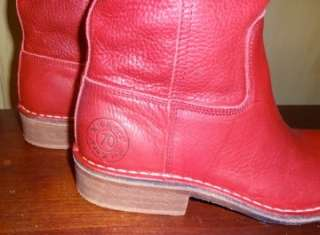 New Red Leather Womens Western Boots Tall Kickers Seventy2 Size 38 NIB