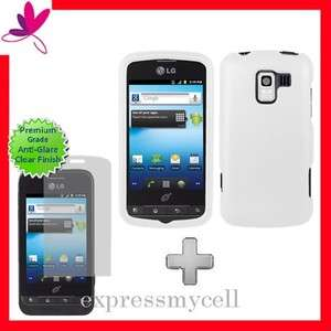 Screen + WHITE Hard Case Cover for Straight Talk NET 10 LG OPTIMUS Q