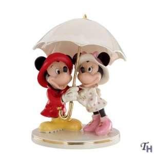Lenox Disney Mickey & Minnie Singing In The Rain Figurine
