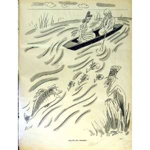 MAN LADY RIVER BOAT FISH LE RIRE FRENCH HUMOR MAGAZINE