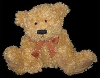 Plush Tan Golden Brown Teddy Bear 13 Stuffed Animal Toy Bow