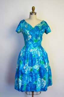Suzy Perette Blue Green Floral Mad Men Bombshell Full Party Dress S/M