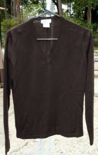 Womens Linea Donna 100% Fine Merino Wool Mocha V Neck Long Sleeve