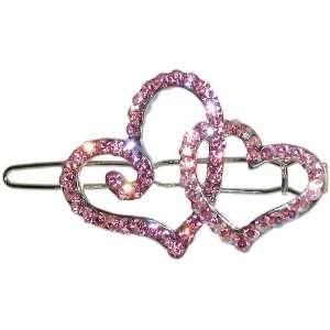 Swarovski Crystal Double Heart Barrette 1 1/8 X 1 5/8 In