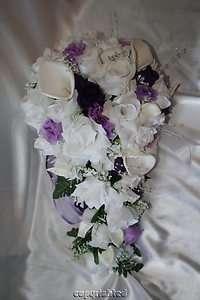 Lily Purple Rose Lavender Rose Silk Wedding Bridal Bouquet 22pc