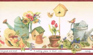 FLOWERS WATERING CANS BIRD HOUSES Wallpaper bordeR Wall