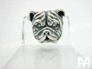 Sterling Silver English Bulldog Bull Dog Pin Real Diamond Eyes Animal