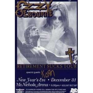 Ozzy Osbourne Korn Original Concert Poster NYE 1996