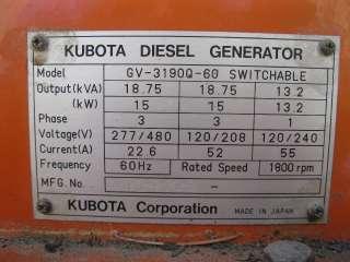 Kubota Diesel Generator GN 3190Q 60 Switchable Voltage (480v / 208v