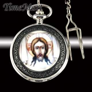 JESUS CHRIST Mens Hollow Hand Winding Mechanical Pocket Watch BOXED