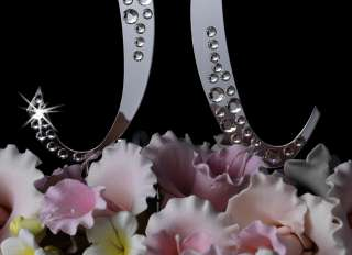 Crystal SPARKLE Monogram Initials Wedding Cake Topper