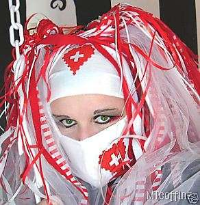 DIY Cyber Goth Rave White Nurse Heart Surgical Mask
