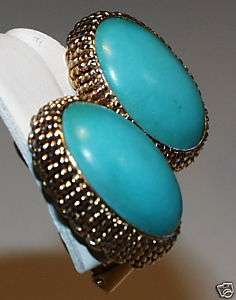 PRETTY Y GOLD Robins Egg Blue TURQUOISE CLIP EARRINGS