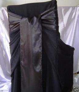 Black Satin Wedding Chair Sash Bow or Table Runner