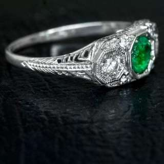 NATURAL EMERALD DIAMOND ART DECO RING VINTAGE 3 STONE WHITE GOLD GREEN