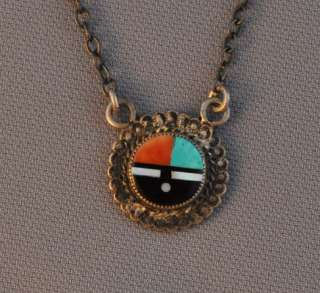 OLD ZUNI DANGLING TIE CLIP   SILVER INLAY SUN FACE
