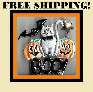 BLACK CAT PUMPKIN HALLOWEEN CRYSTAL BROOCH BROACH PIN