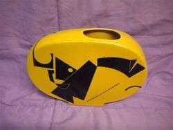 Vase Mid Century Modern Yellow & Black by Scott Sumner Art Deco