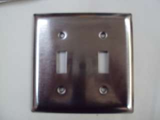 DOUBLE TOGGLE LIGHT SWITCH PLATES BRUSHED STAINLESS STEEL PLATE