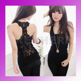 Sexy Korea Women Openwork Hollow out Vest Tank Top lace