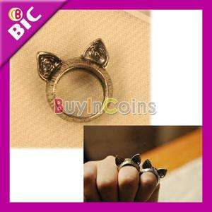 Korean Charming Style Retro Cute Cat Ear Ring Size 8 Halloween