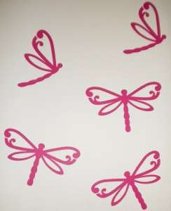 Dragonfly Wall / Car Stickers *Removable* 8 x Pink