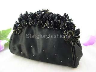 Cute Black Flower Pearls Wedding Prom Clutch Purse