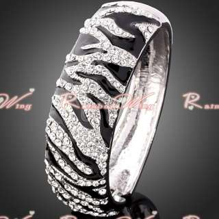 Swarovski Crystal Animal Stripe/Pattern Gold GP Bracelet Bangle 022