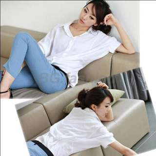 Womens Casual Batwing Tops Button Down Collar Ladies Shirt Blouse Pure