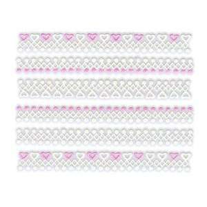 Glitter White & Pink Heart/Dot Lace Trim Strip Nail Stickers/Decals