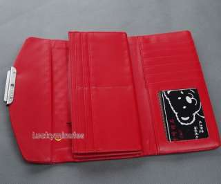 I699 Red Patent Leather Grid Jewel Lady Long Wallet Purse Coin Bag