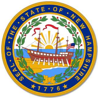 New Hampshire State Seal bumper sticker decal 4 x 4