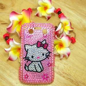 Hello Kitty cat flower Rhinestone Bling Crystal back cover